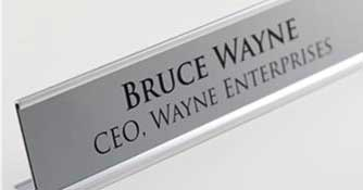 Office Name Plates - Brushed metal office identification nameplates and personalized desk signs