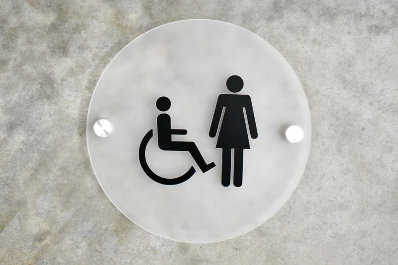 Bathroom Sign Graphics frosted contemporary restroom signs | round frosted bathroom signs