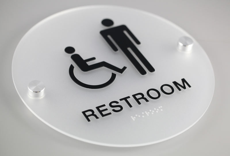 Stylish restroom signs with grade 2 braille cool for Cool bathroom signs
