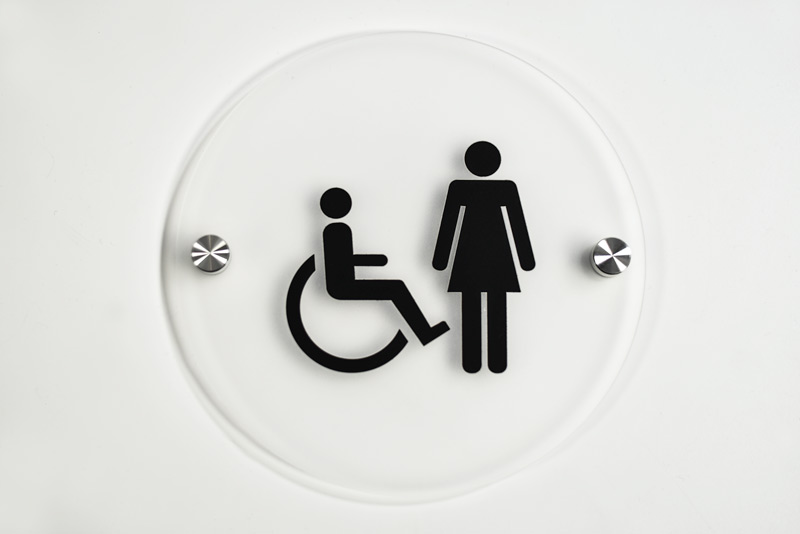 Bathroom Signs Silver frosted contemporary restroom signs | round frosted bathroom signs