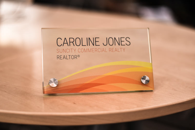 Glass Desk Sign Glass Counter Sign Desk Name Plate