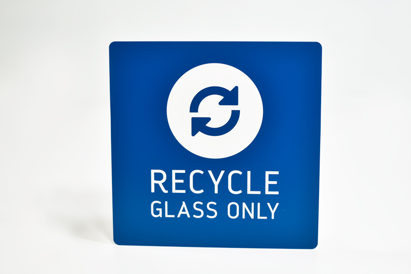 recycling and trash engraved signs garbage recycle signs