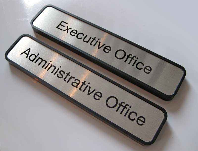 Office door name plates metal office signage for Door name signs