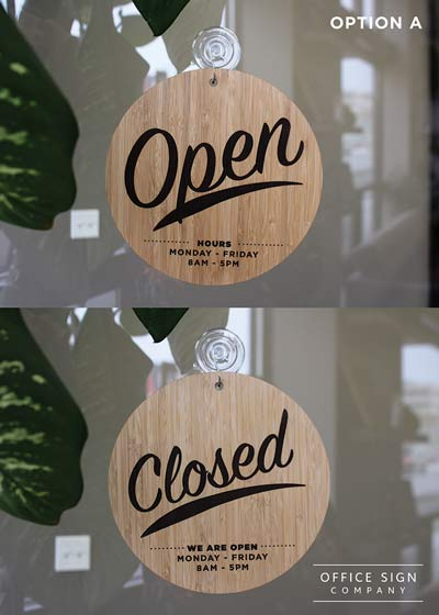 Bamboo Open Amp Closed Sign 2 Sided Open Closed Sign