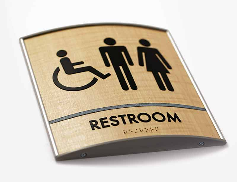 Curved Wood Bathroom ADA Signs