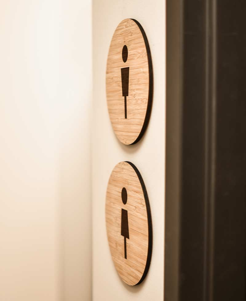 Bathroom Sign Graphics modern wood restroom signs | contemporary bamboo bathroom signs