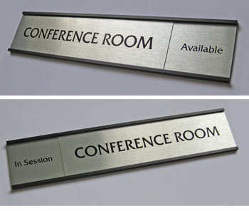 Sliding office door signs on aluminum sliding window