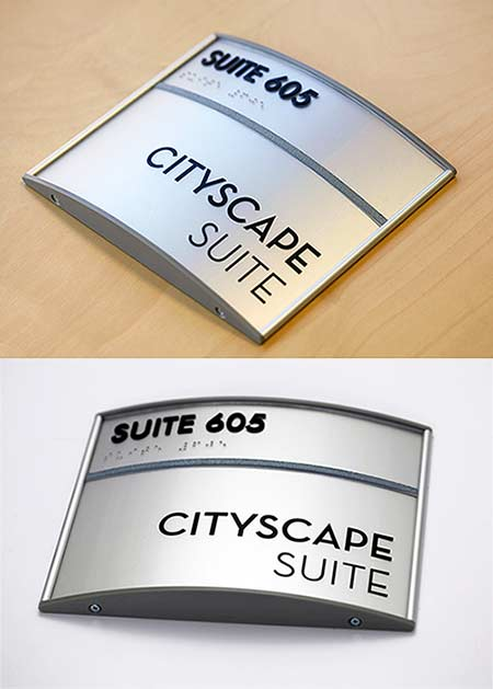 curved sign system ada braille office signs full personalization