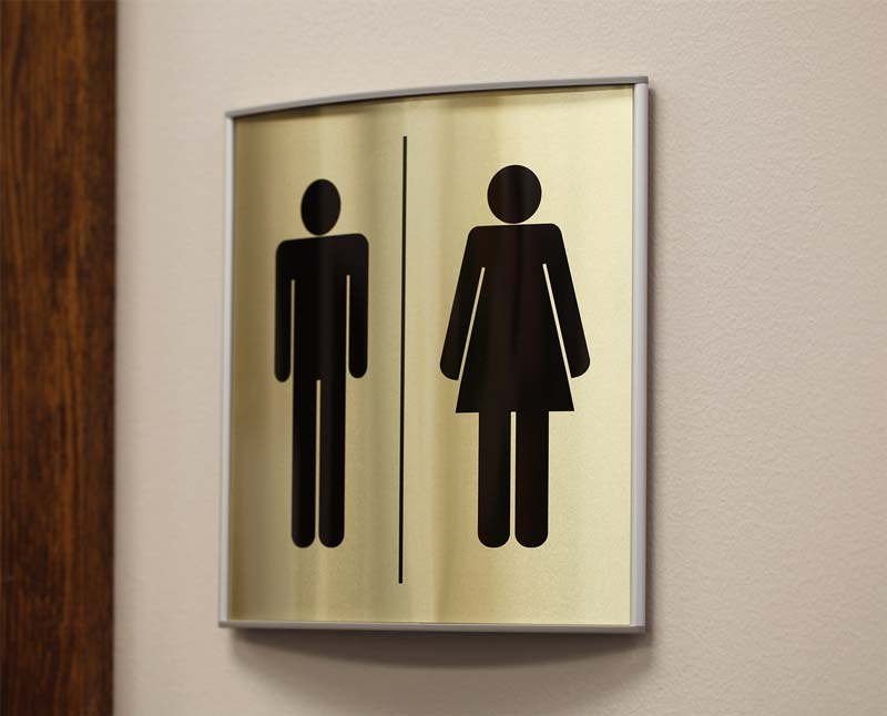 Curved Bathroom Signs Metal Restroom Sign