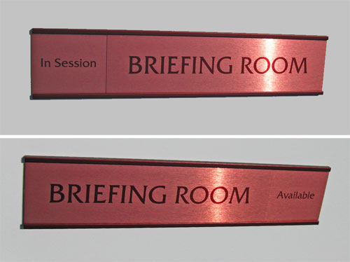 brown colors sliding office signs sliding in session door signs