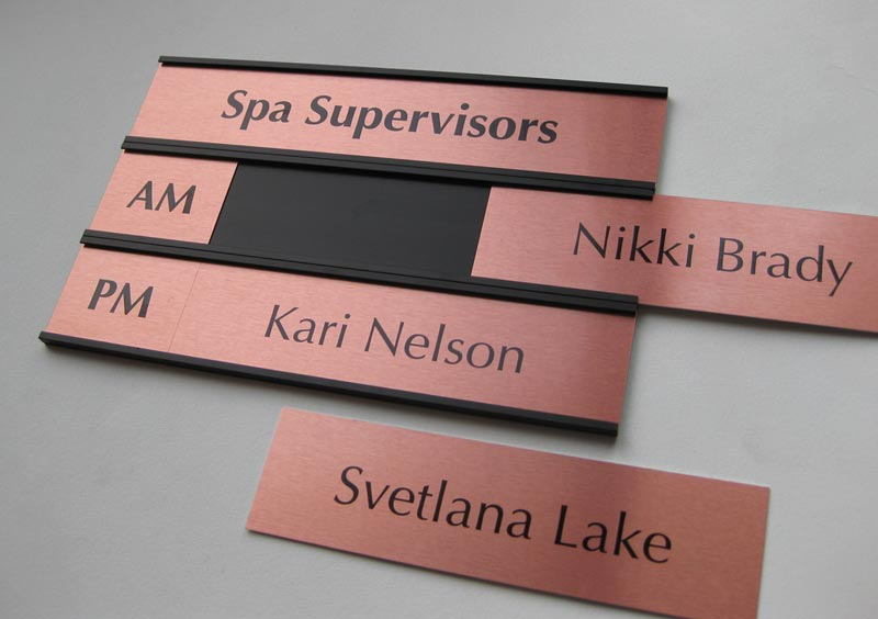 interchangeable name plates custom office signs salon signs. Black Bedroom Furniture Sets. Home Design Ideas