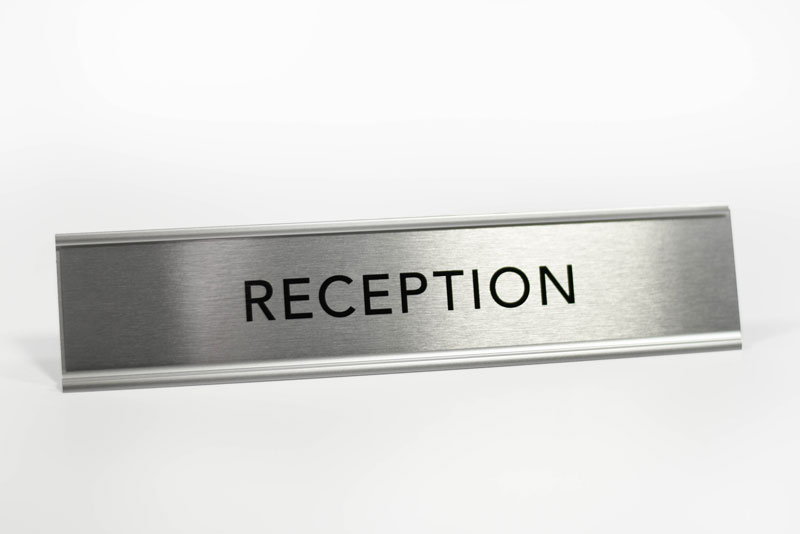 License Plate Holders >> Desktop Reception Sign | Satin Silver Reception Desk Sign