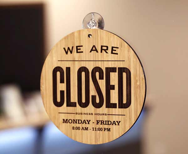 Bamboo Open & Closed Sign | 2 Sided Open-Closed Sign
