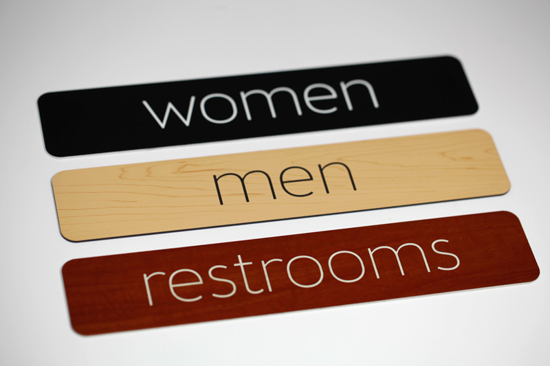 Simple Engraved Restroom Signs For Interior And Exterior