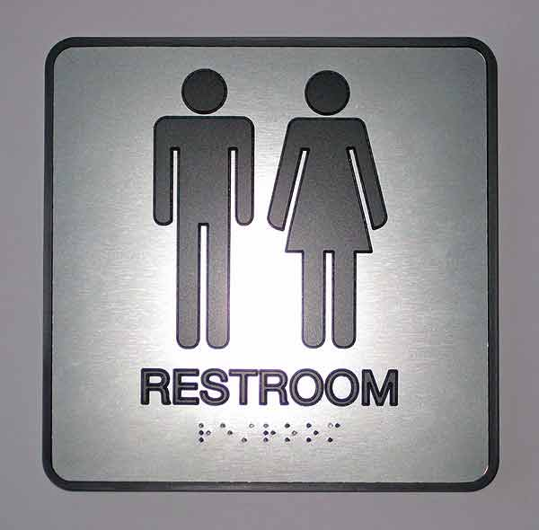 ADA Metal Finish Braille Restroom And Bathroom Signs