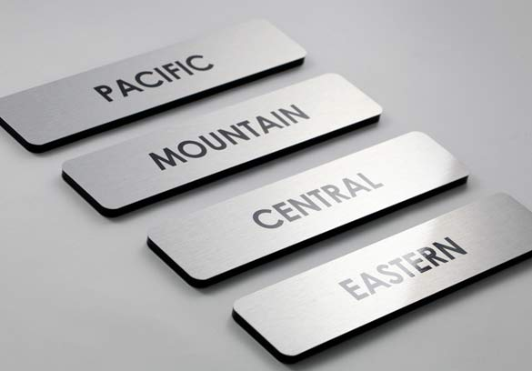 Office Name Plates: Brushed Metal Door Signs