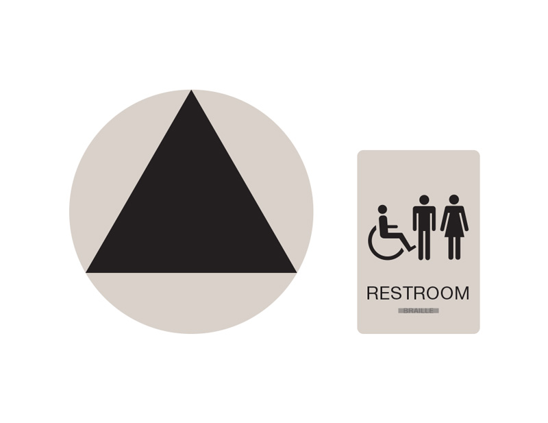 unisex handicap accessible wall and door restroom sign