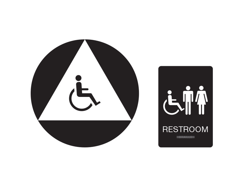 unisex restroom wall and door sign unisex handicap accessible restroom sign black with white tactile