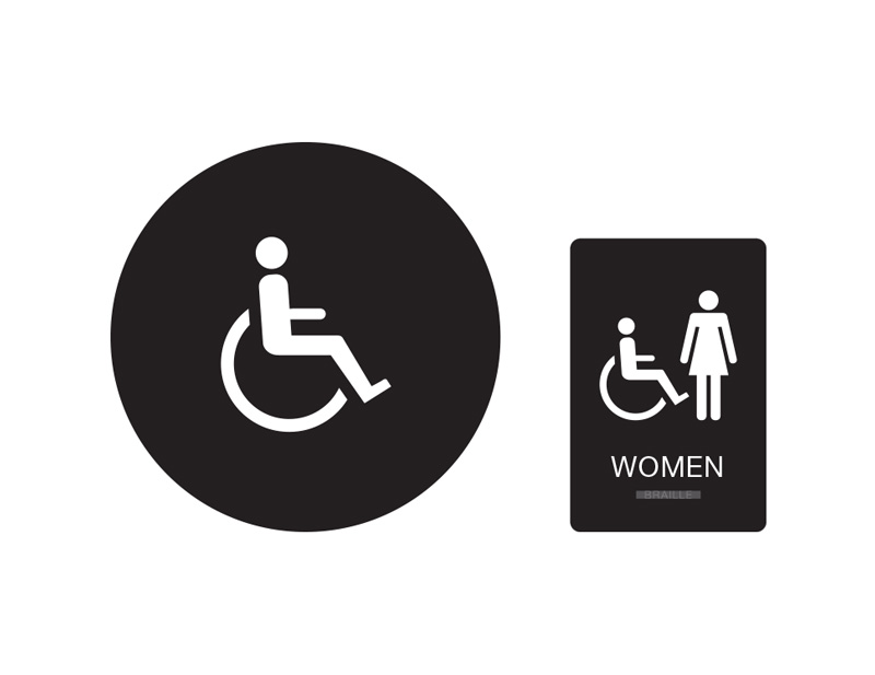 womens restroom wall and door sign womens handicap accessible restroom sign black with white tactile - Handicap Bathroom Signs