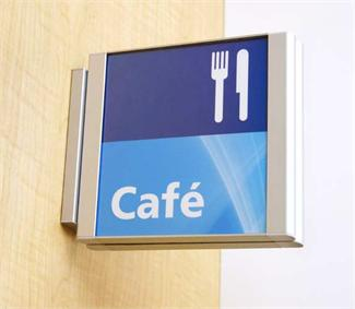 2 sided hallway signs with removable lens | projection