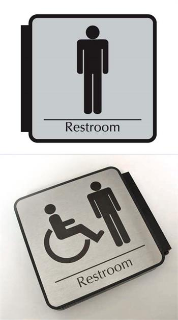 men's restroom signs & men's bathroom signage. Women too.