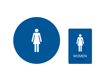 womens restroom california braille blue with white tactile - Womens Bathroom