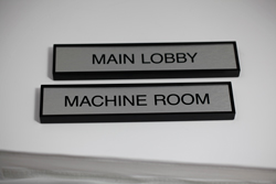 Square Metal Office Nameplate with Plastic Frame
