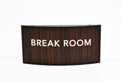 Office Signs Curved Walnut Wood