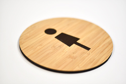 Renewable Bamboo Restroom Sign with Engraved Graphics