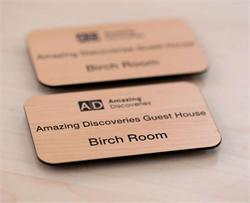 Name Badges in Rich Wood Tones - Engraved Name Tags