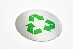 Low Profile Brushed Aluminum Recycling Sign with Full Color Symbol