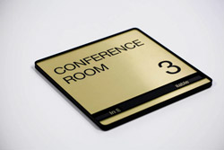 Executive Brushed Metal Conference Room Signs with Sliding Availability Tab