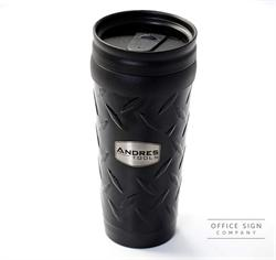 Stainless Steel Travel Mug with Diamond Plate Texture