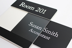 Engraved Lensed Window Sign Removable Name Plate