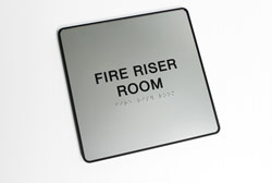 ADA Compliant Fire Riser Room Braille Sign with Frame