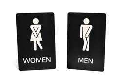 Funny Restrooms Signs with Engraved Text & Graphics