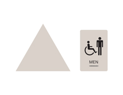 Men's Handicap Accessible Wall and Door Restroom Sign