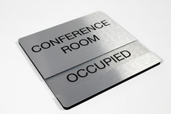 Brushed Aluminum Conference Room Sign with Removable Availability Insert