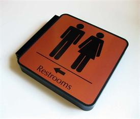 Bathroom Corridor Sign - 2 sided Hallway Signs for Restrooms