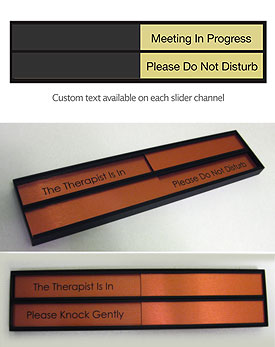 Sliding In Use Office Door Signs & Slider Name Plates