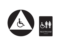 Unisex Handicap Accessible Restroom Sign Black with White Tactile