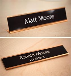 Premium Office Signs - Warm Brown with Rose Gold Frames