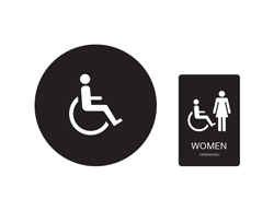 Women's Handicap Accessible Restroom Sign Black with White Tactile