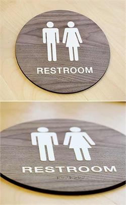 Wooden Restroom Sign with Braille