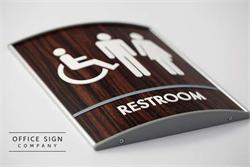Cool Wood Restroom Sign with ADA Braille - Fargo, ND