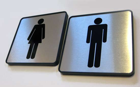 metal restroom signs and bathroom signage for interiors and doors