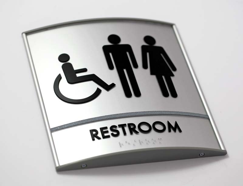 Curved Restroom Sign ADA Braille Tactile