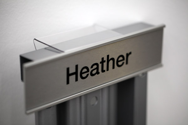 Clear Acrylic Cubicle Hanger. Office Nameplate Holder