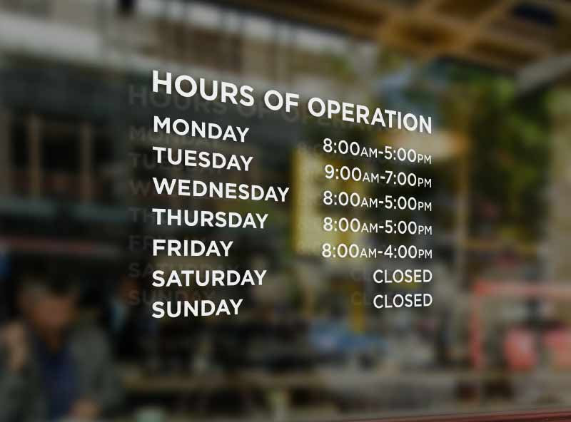 Store Hours Sign Vinyl Business Hours For Glass