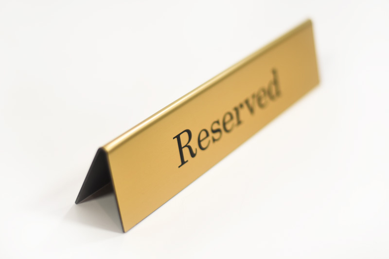 Double Sided Reserved Sign Table Top Laser Engraved Tent